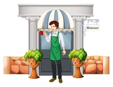 Illustration of a barista outside the restaurant on a white background Vector