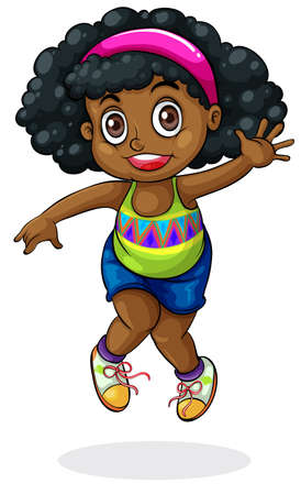 happy black people: Illustration of a young Black girl dancing on a white background