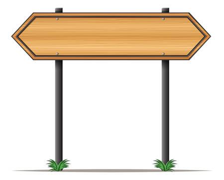 puntig: Illustratie van een houten bord met spitse randen op een witte achtergrond