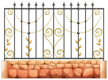 Illustration of a gate made of pointed steel on a white background