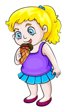 bestfriend: Illustration of a young Asian girl eating icecream on a white background Illustration