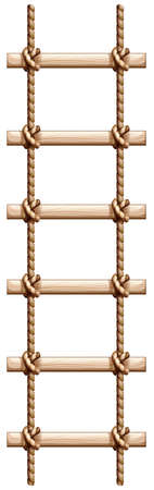 Illustration of a ladder made of wood and rope on a white background