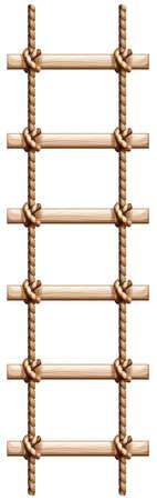 Illustration von einer Leiter aus Holz und Seil auf einem weißen Hintergrund