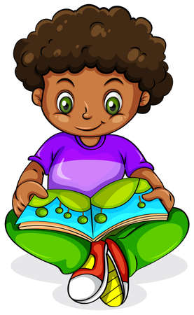 dark complexion: Illustration of a young Black girl reading on a white background