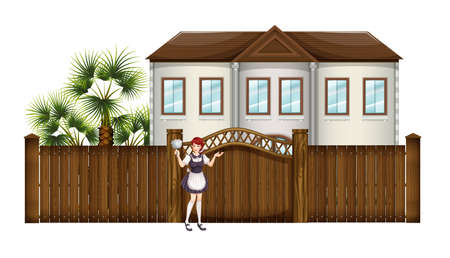 Illustration of a housemaid in front of the big house on a white background