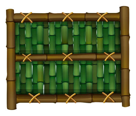 Illustration of a fence made of bamboo on a white background