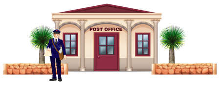 postmaster: Illustration of a messenger in front of the post office on a white background Illustration