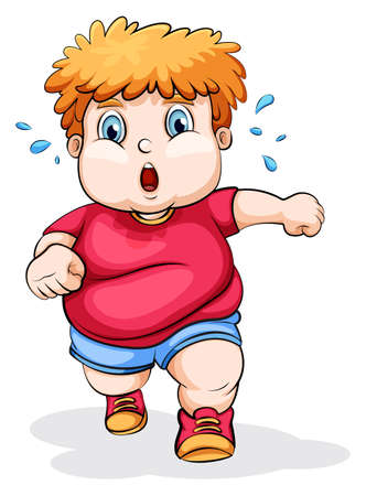 Illustration of a fat Caucasian kid running on a white background Ilustracja