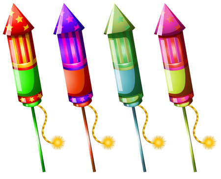 tightly: Illustration of the colorful firecrackers on a white background