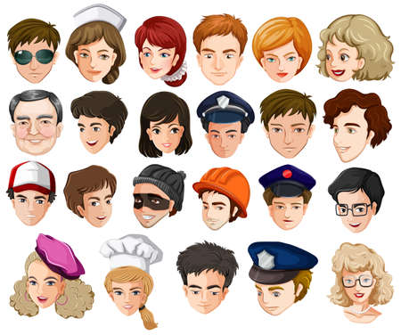 Illustration of the heads of a lot of people with different professions on a white background Vector