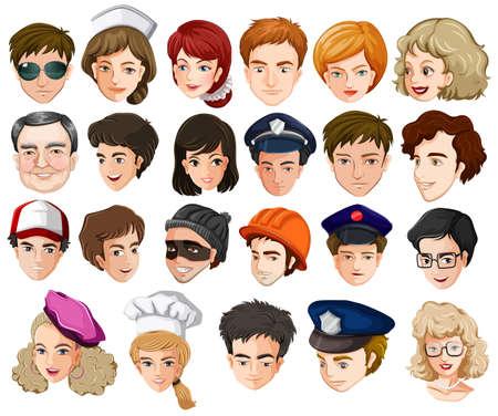 enfermera con cofia: Ilustración de los jefes de una gran cantidad de personas con diferentes profesiones en un fondo blanco Vectores