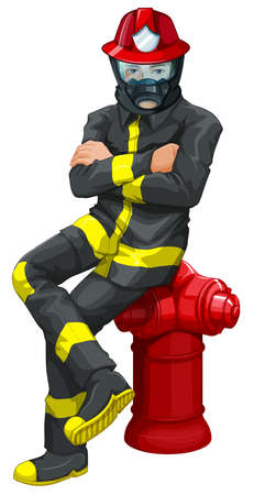 public service: Illustration of a fireman sitting above the hydrant on a white background Illustration