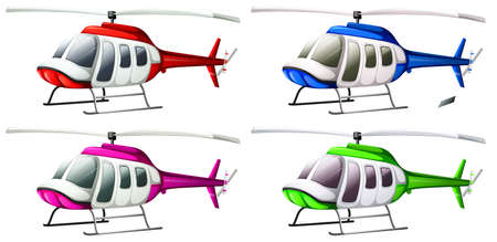 Illustration of a group of helicopters on a white background