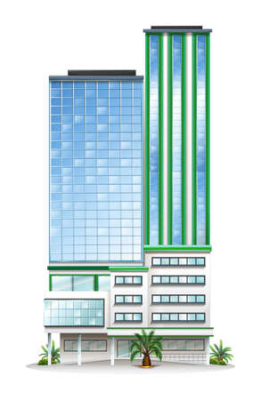 office building: Illustration of a tall commercial building on a white background