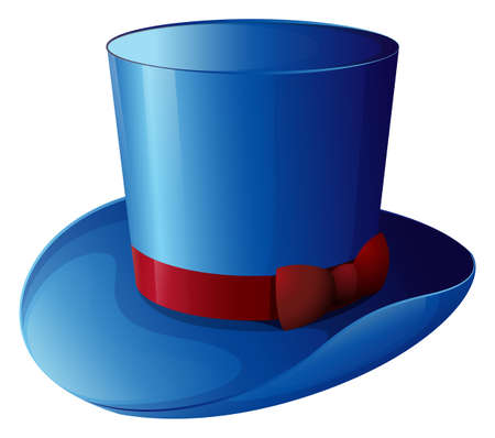 hard rain: Illustration of a blue hat with a red ribbon on a white background Illustration