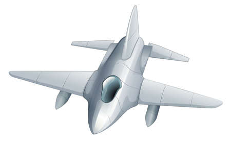 jetplane: Illustration of a gray fighter jet on a white background Illustration