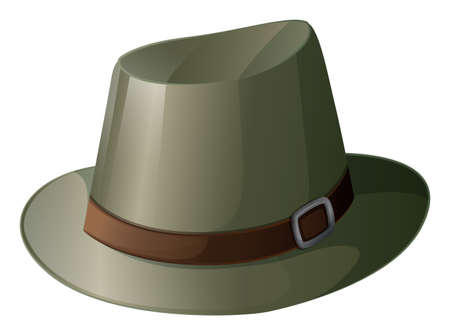 hard rain: Illustration of a gray hat with a brown belt on a white background