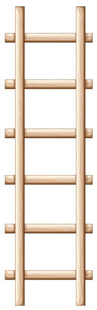 Illustration of a wooden ladder on a white background Vector