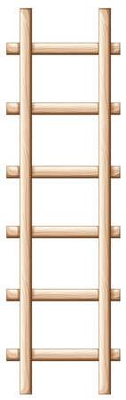 ladder safety: Illustration of a wooden ladder on a white background Illustration
