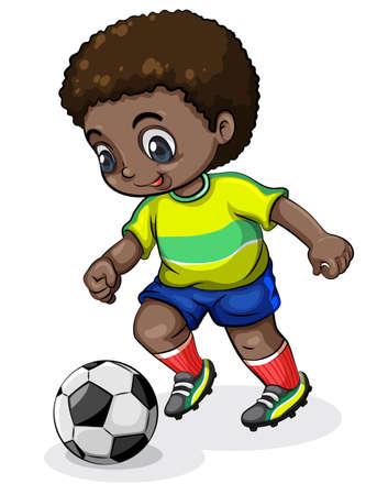 Illustratie van een zwarte voetballer op een witte achtergrond