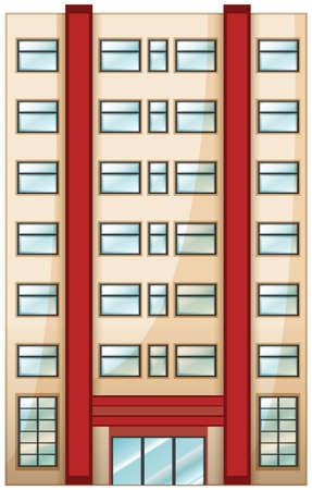 condominium: Illustration of a tall condominium on a white background