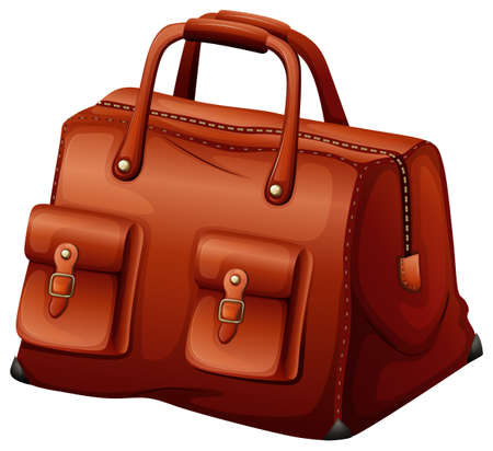 maroon leather: Illustration of a maroon leather bag on a white background