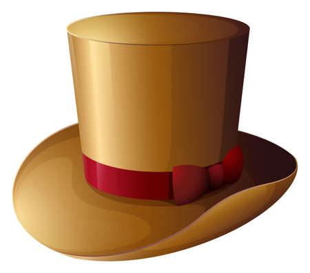 Illustration of a brown hat with a red ribbon on a white background Vector