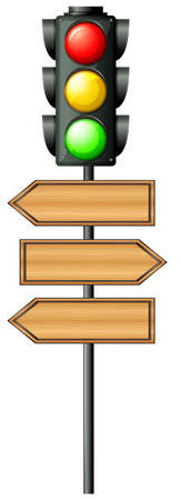 Illustration of the traffic lights with arrowboards on a white background Vector