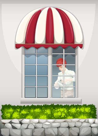 Illustration of a waiter near the window