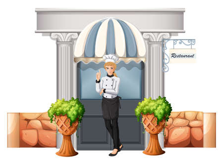 Illustration of a chef in front of the restaurant on a white background Vector
