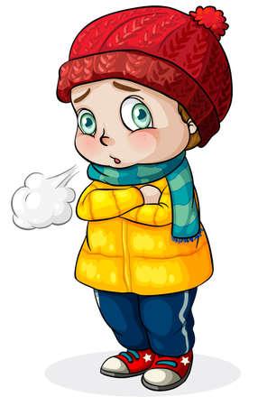Illustration d'un bébé de race blanche sensation de froid sur un fond blanc
