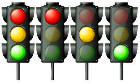 Illustration of the traffic lights on a white background Vector