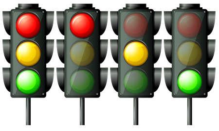 semaforo peatonal: Ilustración de las luces de tráfico en un fondo blanco