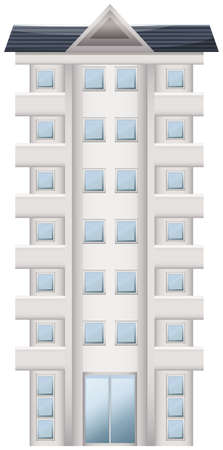 office building: Illustration of a tall condominium on a white background