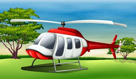 daytime: Illustration of a chopper landing