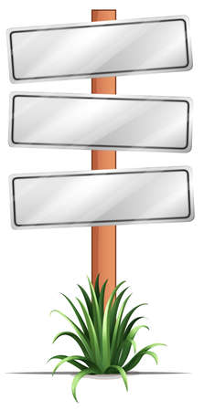 plant stand: Illustration of the empty signboards on a white background