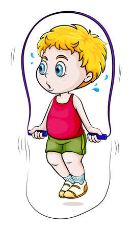 sweaty: Illustration of a young Asian boy playing skipping rope on a white background Illustration