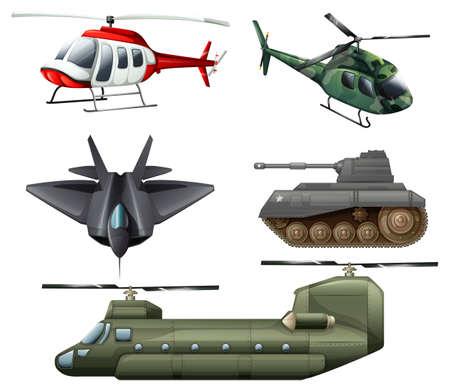 avion de chasse: Illustration de l'avion à réaction de combat, des hélicoptères, des canons et le réservoir sur un fond blanc