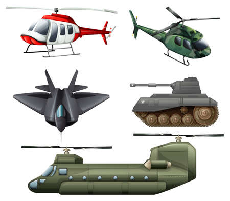 frontline: Illustration of the fighting jetplane, choppers, cannon and tank on a white background Illustration