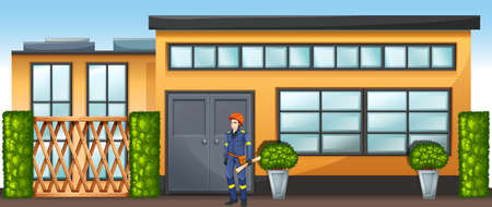 residential construction: Illustration of an engineer in front of a new building
