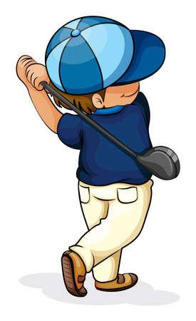 teen golf: Ilustración de un niño asiático que juega a golf en un fondo blanco