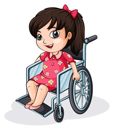 Illustration of an Asian girl riding on a wheelchair on a white background