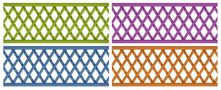 superstructure: Illustration of the colorful wooden fences on a white background Illustration