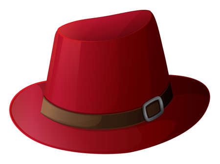 hard rain: Illustration of a red hat with a brown belt on a white background