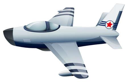 jetplane: Illustration of a fighter jet with a star on a white background Illustration