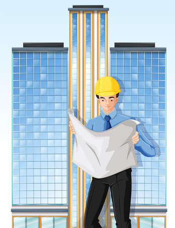 occupancy: Illustration of an engineer in front of a tall building Illustration
