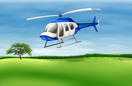 manmade: Illustration of a helicopter about to land Illustration