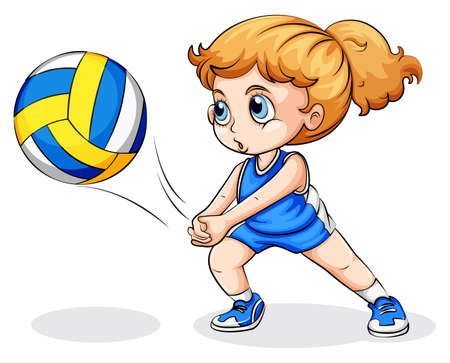buiten sporten: Illustratie van een blanke meisje spelen van volleybal op een witte achtergrond