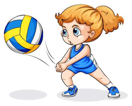 pelota de voley: Ilustración de una niña que juega a voleibol de raza caucásica sobre un fondo blanco Vectores