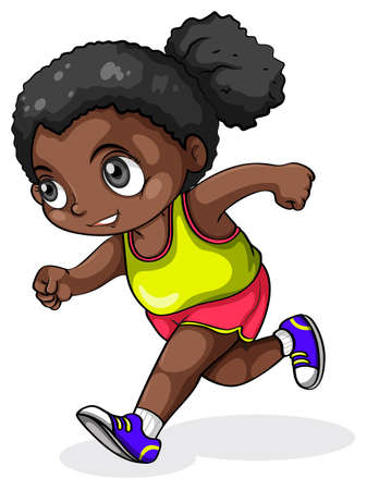 Illustration of a black girl running on a white background Vector